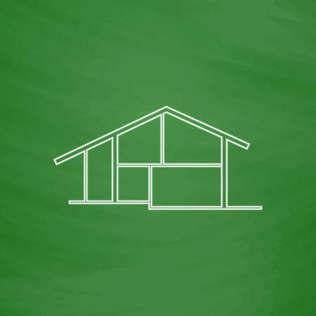 tenancy: cottage Outline vector icon. Imitation draw with white chalk on green chalkboard. Flat Pictogram and School board background. Illustration symbol