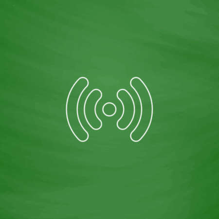 Wi-Fi Outline vector icon. Imitation draw with white chalk on green chalkboard. Flat Pictogram and School board background. Illustration symbol