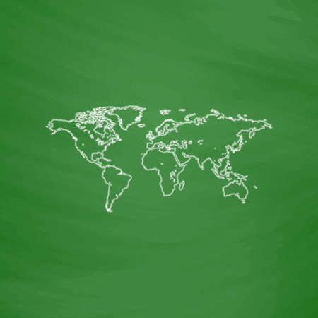 world map outline: World Map Outline vector icon. Imitation draw with white chalk on green chalkboard. Flat Pictogram and School board background. Illustration symbol
