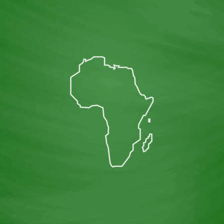 africa outline: Africa Outline vector icon. Imitation draw with white chalk on green chalkboard. Flat Pictogram and School board background. Illustration symbol Illustration