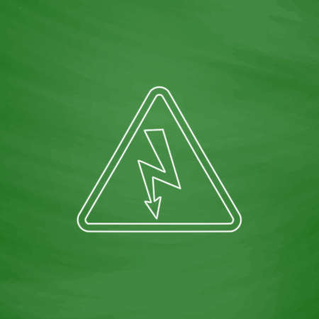 voltage sign: High voltage Outline vector icon. Imitation draw with white chalk on green chalkboard. Flat Pictogram and School board background. Illustration symbol Illustration