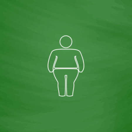 fatty Outline vector icon. Imitation draw with white chalk on green chalkboard. Flat Pictogram and School board background. Illustration symbol Illustration