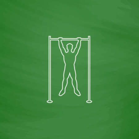 telamon: athlete Outline vector icon. Imitation draw with white chalk on green chalkboard. Flat Pictogram and School board background. Illustration symbol