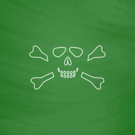 skull and crossbones: Skull crossbones Outline vector icon. Imitation draw with white chalk on green chalkboard. Flat Pictogram and School board background. Illustration symbol