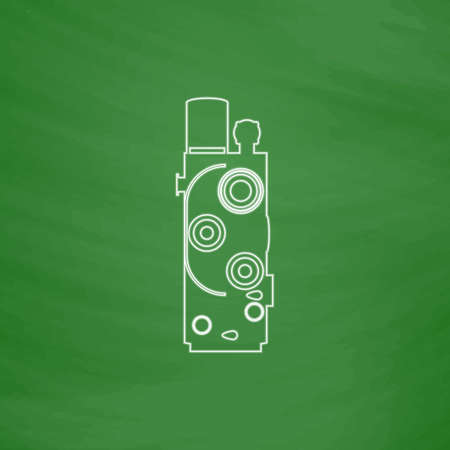 Retro cinema Outline vector icon. Imitation draw with white chalk on green chalkboard. Flat Pictogram and School board background. Illustration symbol