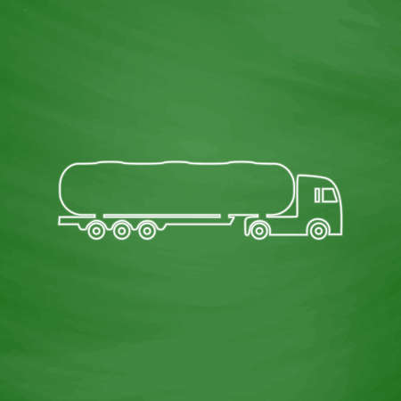 fuel truck: Fuel Truck Outline vector icon. Imitation draw with white chalk on green chalkboard. Flat Pictogram and School board background. Illustration symbol