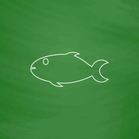 school of fish: fish Outline vector icon. Imitation draw with white chalk on green chalkboard. Flat Pictogram and School board background. Illustration symbol