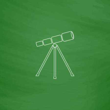 Telescope Outline vector icon. Imitation draw with white chalk on green chalkboard. Flat Pictogram and School board background. Illustration symbol
