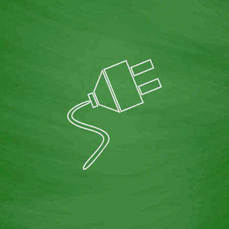 ac: plugs Outline vector icon. Imitation draw with white chalk on green chalkboard. Flat Pictogram and School board background. Illustration symbol