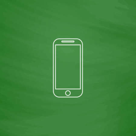 Telephone Outline vector icon. Imitation draw with white chalk on green chalkboard. Flat Pictogram and School board background. Illustration symbol