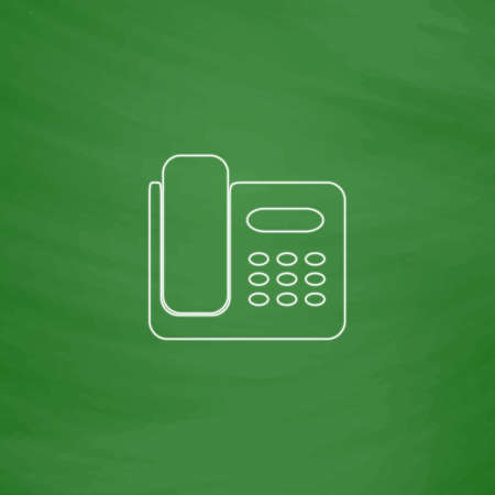 parley: Office Phone Outline vector icon. Imitation draw with white chalk on green chalkboard. Flat Pictogram and School board background. Illustration symbol