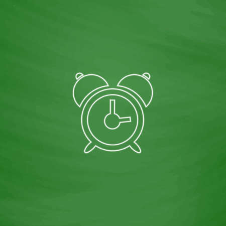 alarm Outline vector icon. Imitation draw with white chalk on green chalkboard. Flat Pictogram and School board background. Illustration symbol