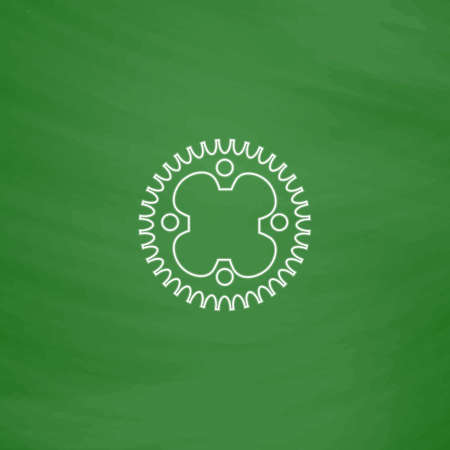 sprockets: Sprockets Outline vector icon. Imitation draw with white chalk on green chalkboard. Flat Pictogram and School board background. Illustration symbol