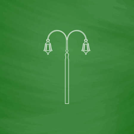 Street Light Outline vector icon. Imitation draw with white chalk on green chalkboard. Flat Pictogram and School board background. Illustration symbol Illustration