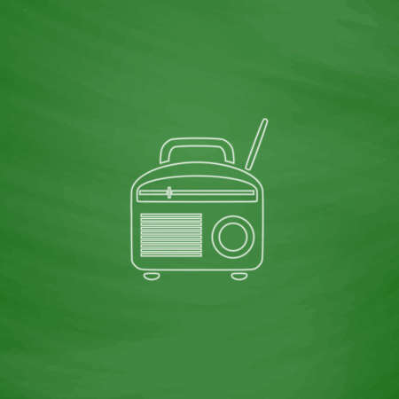 fm: Radio Outline vector icon. Imitation draw with white chalk on green chalkboard. Flat Pictogram and School board background. Illustration symbol