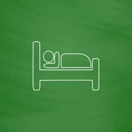 sleeper: Hotel Outline vector icon. Imitation draw with white chalk on green chalkboard. Flat Pictogram and School board background. Illustration symbol