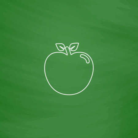 Apple Outline vector icon. Imitation draw with white chalk on green chalkboard. Flat Pictogram and School board background. Illustration symbol Illustration