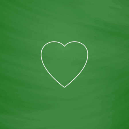 heart outline: Heart Outline vector icon. Imitation draw with white chalk on green chalkboard. Flat Pictogram and School board background. Illustration symbol