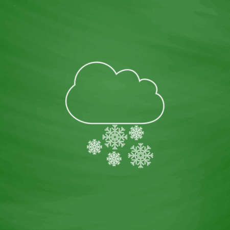 cloudburst: snowfall Outline vector icon. Imitation draw with white chalk on green chalkboard. Flat Pictogram and School board background. Illustration symbol