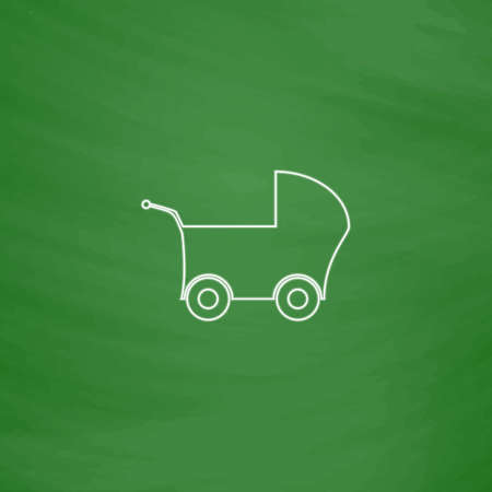 Baby Stroller Outline vector icon. Imitation draw with white chalk on green chalkboard. Flat Pictogram and School board background. Illustration symbol Illustration