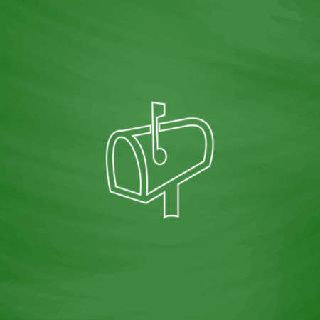Mailbox Outline vector icon. Imitation draw with white chalk on green chalkboard. Flat Pictogram and School board background. Illustration symbol Illustration