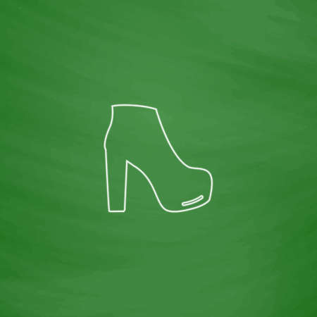 shoe Outline vector icon. Imitation draw with white chalk on green chalkboard. Flat Pictogram and School board background. Illustration symbol