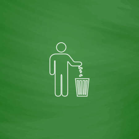 Bin Outline vector icon. Imitation draw with white chalk on green chalkboard. Flat Pictogram and School board background. Illustration symbol Illustration