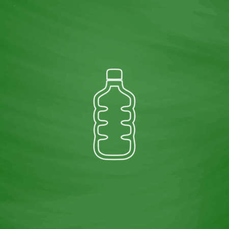 water bottle Outline vector icon. Imitation draw with white chalk on green chalkboard. Flat Pictogram and School board background. Illustration symbol