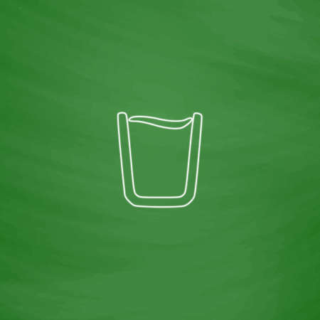 water glass Outline vector icon. Imitation draw with white chalk on green chalkboard. Flat Pictogram and School board background. Illustration symbol