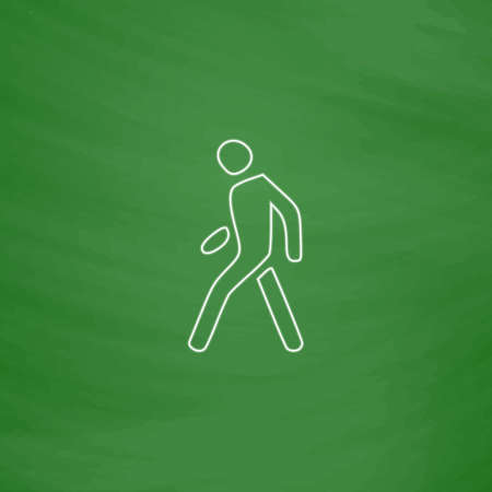 walk board: Walk Man Outline vector icon. Imitation draw with white chalk on green chalkboard. Flat Pictogram and School board background. Illustration symbol