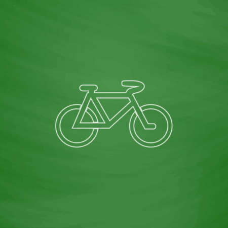 active content: Mountain bike Outline vector icon. Imitation draw with white chalk on green chalkboard. Flat Pictogram and School board background. Illustration symbol Illustration