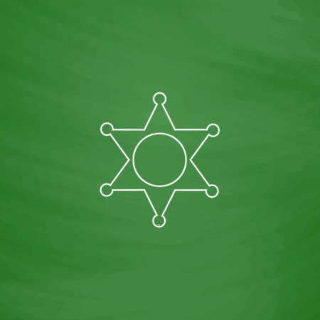 Sheriff star Outline vector icon. Imitation draw with white chalk on green chalkboard. Flat Pictogram and School board background. Illustration symbol Illustration
