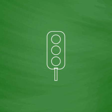 semáforo icono del vector esquema. Imitación dibujar con tiza blanca en la pizarra verde. Pictograma plano y fondo de la tarjeta de la escuela. ilustración de símbolo