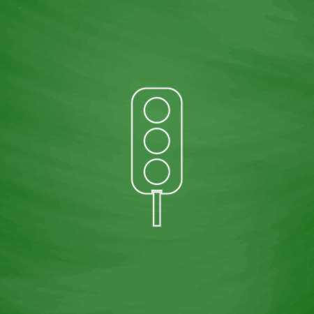 Traffic light Outline vector icon. Imitation draw with white chalk on green chalkboard. Flat Pictogram and School board background. Illustration symbol Illustration