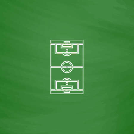 photo realism: football field Outline vector icon. Imitation draw with white chalk on green chalkboard. Flat Pictogram and School board background. Illustration symbol