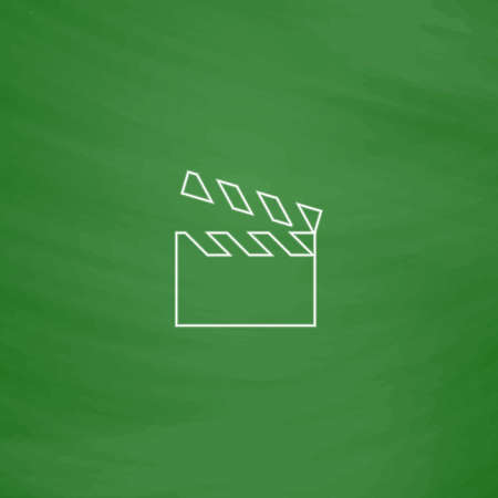 clap board: clap board Outline vector icon. Imitation draw with white chalk on green chalkboard. Flat Pictogram and School board background. Illustration symbol