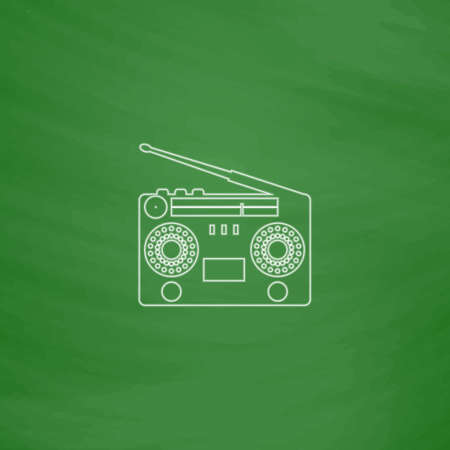 boombox: boombox Outline vector icon. Imitation draw with white chalk on green chalkboard. Flat Pictogram and School board background. Illustration symbol