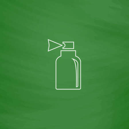 Spray Outline vector icon. Imitation draw with white chalk on green chalkboard. Flat Pictogram and School board background. Illustration symbol
