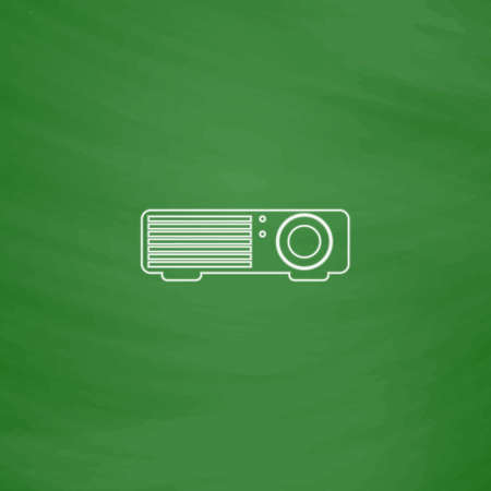 taught: Projector Outline vector icon. Imitation draw with white chalk on green chalkboard. Flat Pictogram and School board background. Illustration symbol Illustration