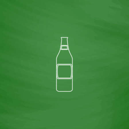 Glass Beer Outline vector icon. Imitation draw with white chalk on green chalkboard. Flat Pictogram and School board background. Illustration symbol