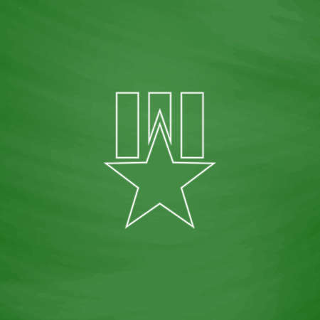 Order star Outline vector icon. Imitation draw with white chalk on green chalkboard. Flat Pictogram and School board background. Illustration symbol