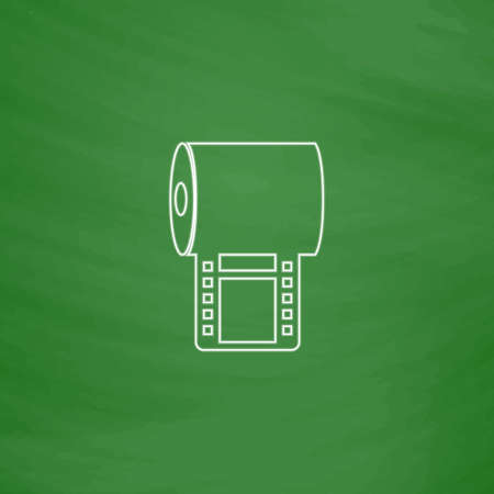 Film strip Outline vector icon. Imitation draw with white chalk on green chalkboard. Flat Pictogram and School board background. Illustration symbol