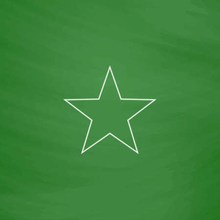Clasic star Outline vector icon. Imitation draw with white chalk on green chalkboard. Flat Pictogram and School board background. Illustration symbol Illustration