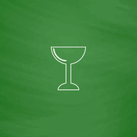 chalice Outline vector icon. Imitation draw with white chalk on green chalkboard. Flat Pictogram and School board background. Illustration symbol