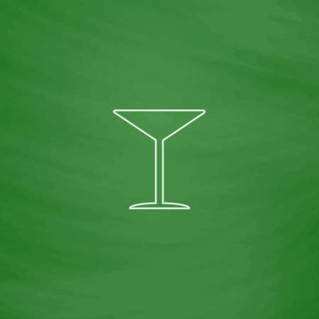 cocktail Outline vector icon. Imitation draw with white chalk on green chalkboard. Flat Pictogram and School board background. Illustration symbol