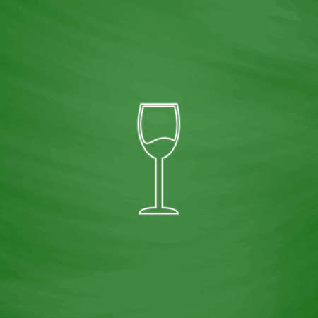 vineyard plain: wineglass Outline vector icon. Imitation draw with white chalk on green chalkboard. Flat Pictogram and School board background. Illustration symbol