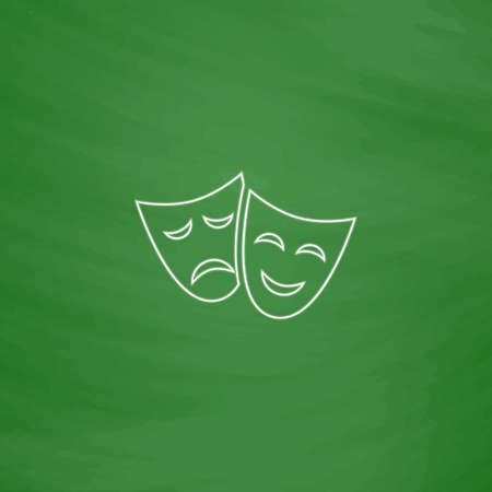 moods: masks Outline vector icon. Imitation draw with white chalk on green chalkboard. Flat Pictogram and School board background. Illustration symbol