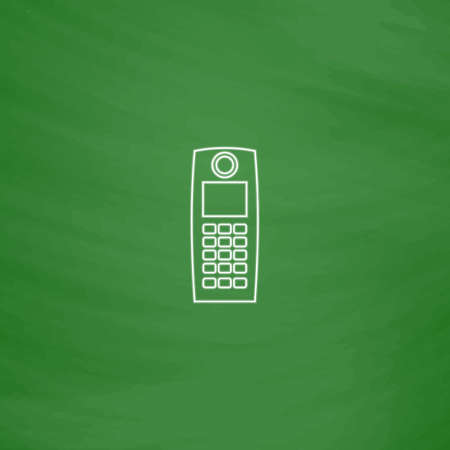 walkie: walkie talkie Outline vector icon. Imitation draw with white chalk on green chalkboard. Flat Pictogram and School board background. Illustration symbol Illustration
