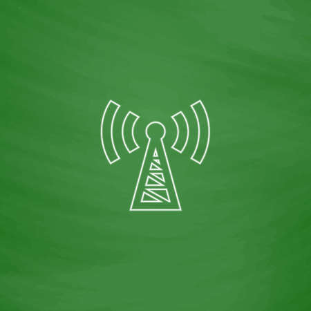 wireles: Transmitter Outline vector icon. Imitation draw with white chalk on green chalkboard. Flat Pictogram and School board background. Illustration symbol Illustration