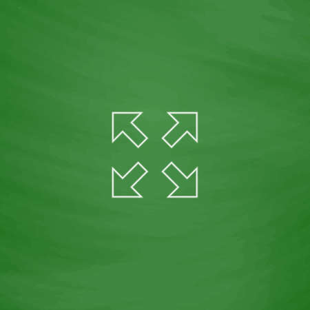 four arrows Outline vector icon. Imitation draw with white chalk on green chalkboard. Flat Pictogram and School board background. Illustration symbol Illustration